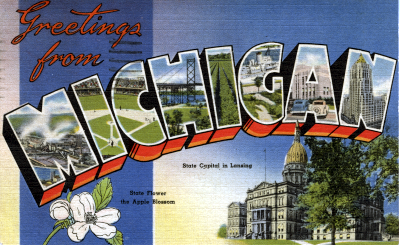 Welcome to Michigan post card from 1949