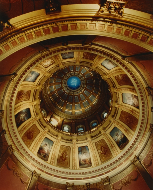 The fully restored inner dome of the Michigan State Capitol, as seen from the rotunda.